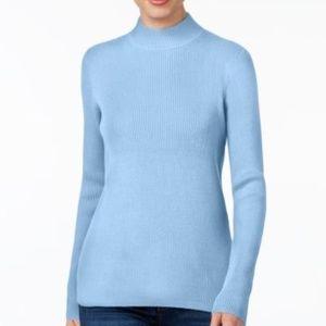 Karen Scott Cotton Ribbed Mock Neck Sweater